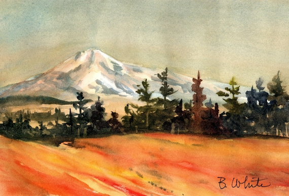 Mt. Hood original painting from east Columbia Gorge - 7 x 10.5 inches - if matted frame size would be approx. 11x14