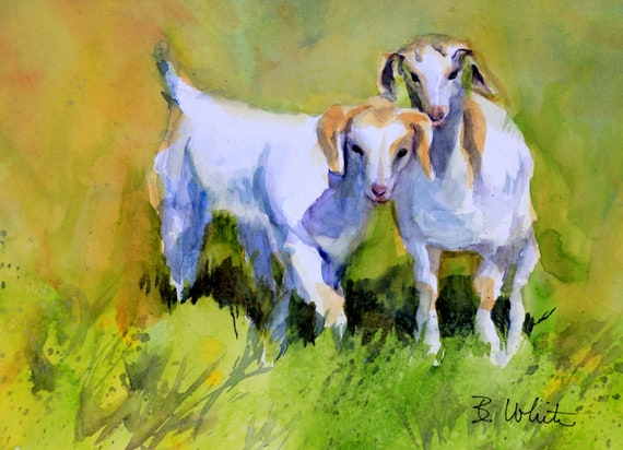 Kids - original watercolor painting of baby goats