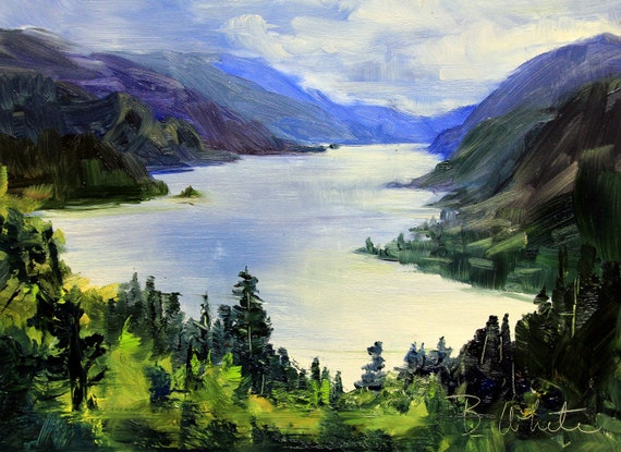 An original oil painting of the Columbia River Gorge from White Salmon 8x10 painted by Bonnie White in oil