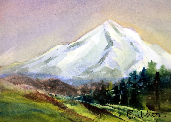 Mt Hood original #4 - 8x10 matted original painting - Bonnie White - Mt Hood - Columbia Gorge - pacific northwest - watercolor