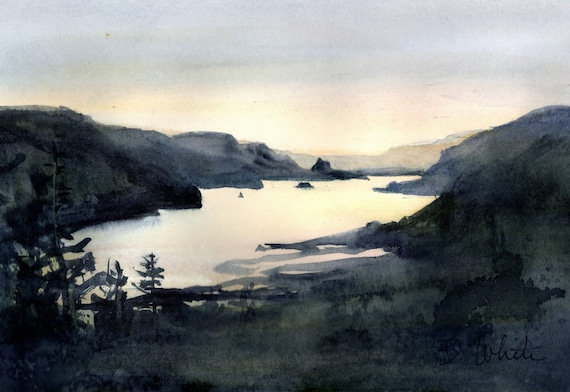 """Columbia Gorge Original watercolor 7""""x9"""" matted to 11x14 by Bonnie White"""