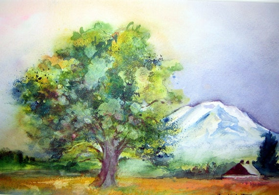 Trout Lake Farm a print of Mt. Adams from a watercolor by Bonnie White