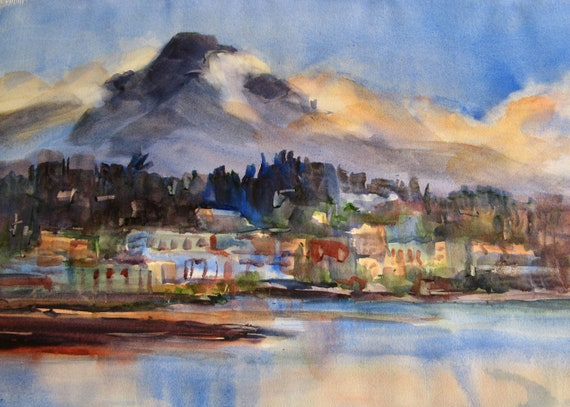 Hood River from the Columbia Gorge - signed print of Mt. Hood