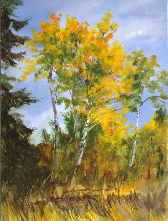 Aspen grove in the pacific northwest in acrylic #201216