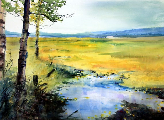 Conboy Wildlife Refuge in Fall - original watercolor painting by Bonnie White