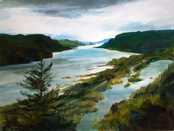 Columbia Gorge from Vista House acrylic painting by Bonnie White #201218