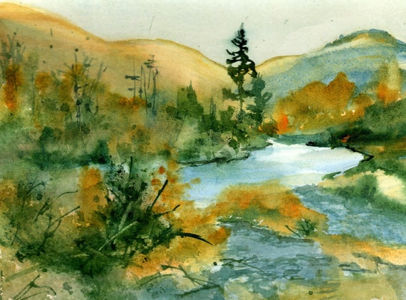 Stream painting by Bonnie White - original painting - Klickitat River - matted to 8x10