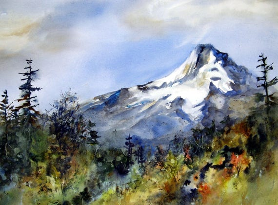 Mt. Hood 211 - signed Mt. Hood watercolor print - Bonnie White