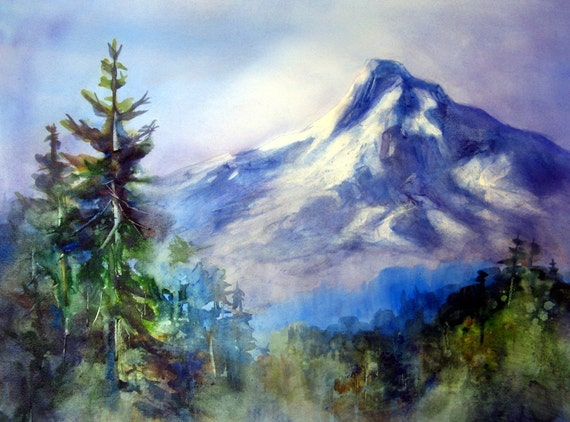 Mt Hood 150 - a signed Mt. Hood print from a Bonnie White watercolor