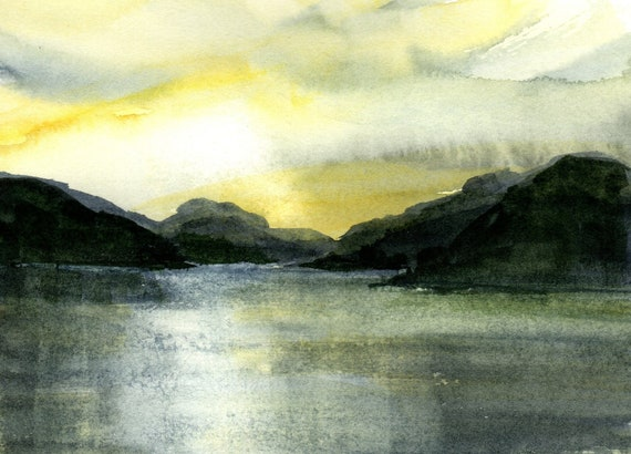 Columbia River original watercolor painting by Bonnie White