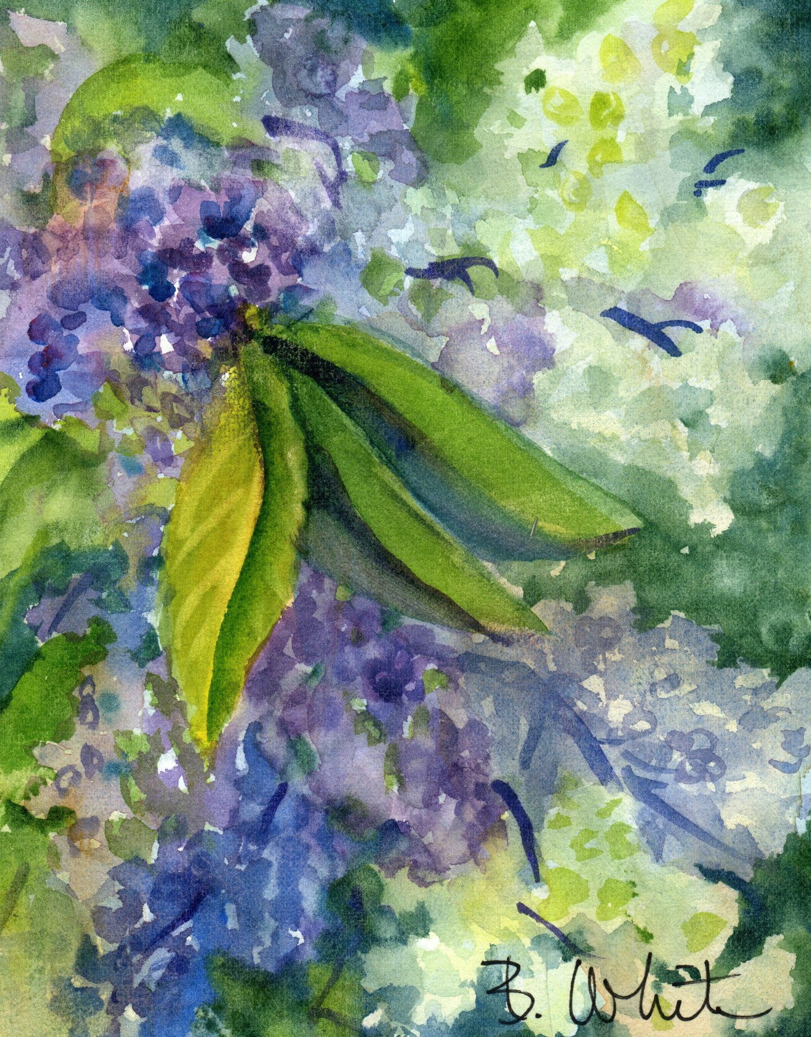 Lilac painting small original 5x7 matted to 8x10