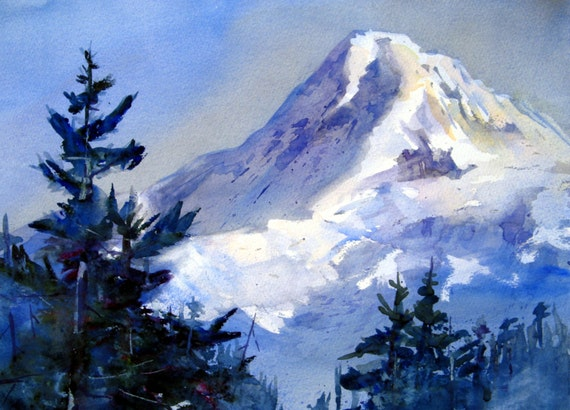 Mt. Hood 147 - signed Mt. Hood watercolor print - Bonnie White