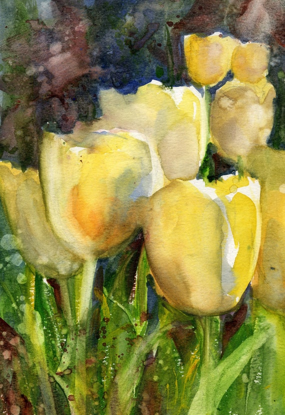 Yellow tulips print of a watercolor painting by Bonnie White April Tulips