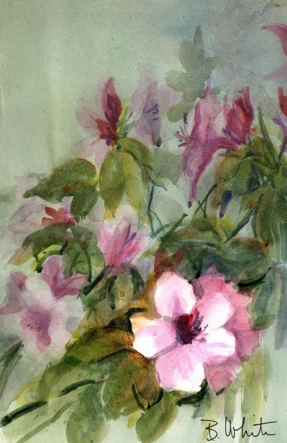 Pink floral original watercolor painting by bonnie white - 6.5 x 10 matted to 11x14