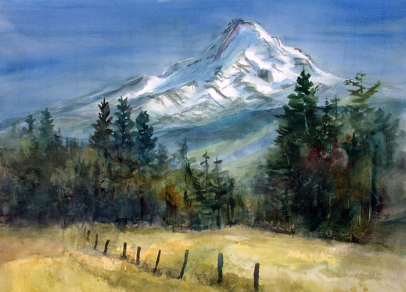 Mt. Hood 301 - A print of Mt. Hood from a watercolor painting by Bonnie White