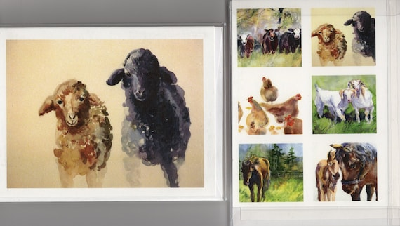 Animal Card Pack - six 4.25 x 5.5 note cards - blank note cards with envelopes - sheep - horses - goats - chickens