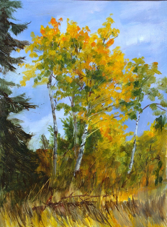 Aspen grove in the pacific northwest in acrylic