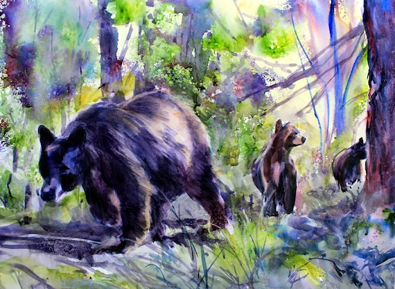 Bear and Cubs sighed print from an original watercolor painted by Bonnie White