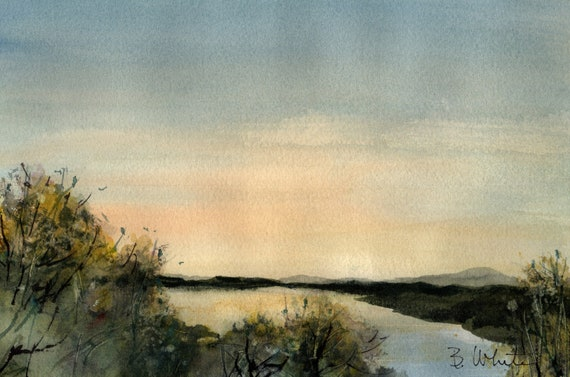 Birds over Water original watercolor by Bonnie White - 7x10 matted to 11x14