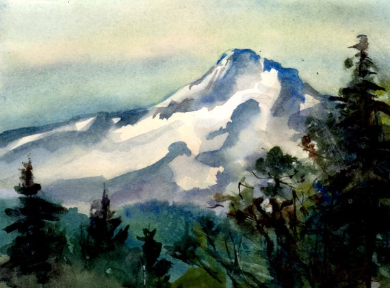 Mt. Hood original #10 - original watercolor painting of Mt. Hood by Bonnie White watercolor artist
