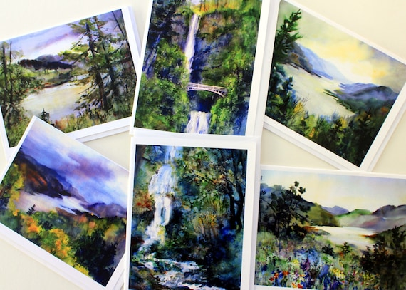 Multnomah Falls 3 - assorted card pack - multnomah falls cards - note cards - Mt Hood - Mt Adams - Bonnie White - blank note cards