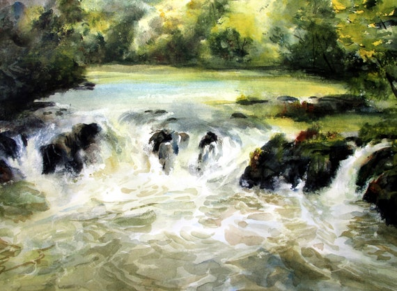 Husum Falls 3 print of a watercolor by Columbia Gorge artist Bonnie White