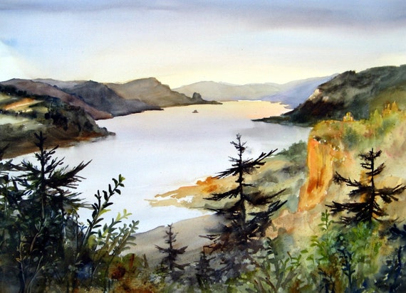 Beacon Rock and the Vista House landscape, Columbia Gorge 223 -signed watercolor print - Bonnie White rcolor paintings