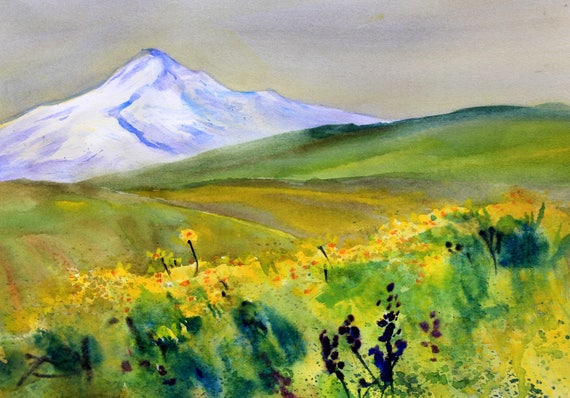 Mt. Hood 280 - original watercolor painting by Bonnie White
