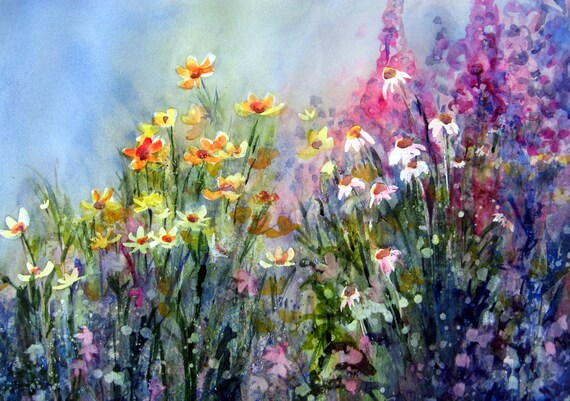 Blue Floral 6 - signed watercolor print - Bonnie White - Columbia Gorge painter - flowers - floral - watercolor paintings