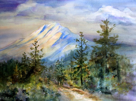 Mt. Adams 92 a print of Mt. Adams from a watercolor by Bonnie White