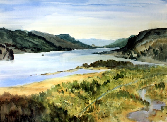 Columbia Gorge 400 print of a watercolor of the Columbia Gorge by Columbia Gorge artist Bonnie White