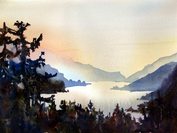 Columbia Gorge 215 - a signed print of the Columbia River Gorge by Bonnie White watercolor