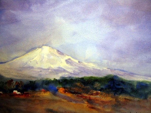 Mt. Adams from Glenwood print of a watercolor by Bonnie White