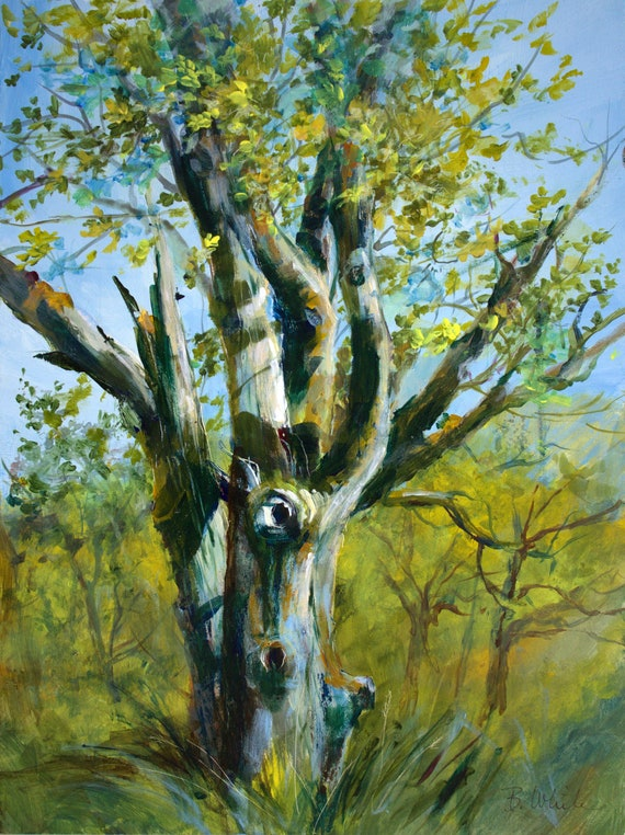 Old Oak Tree original acrylic painting 16x12 #201215