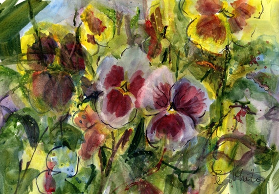 Purple and yellow pansies original watercolor painting by bonnie white 7x10 (you should frame to approx. 11x14)