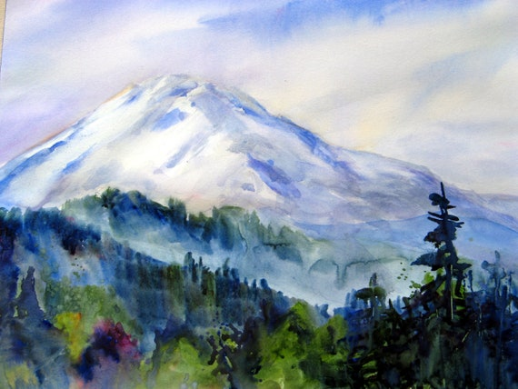 Mt. Adams 58 a print of Mt. Adams from a watercolor by Bonnie White
