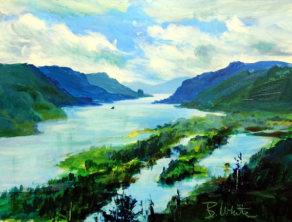 original oil painting of the View from the Vista House near Multnomah Falls in the Columbia River Gorge