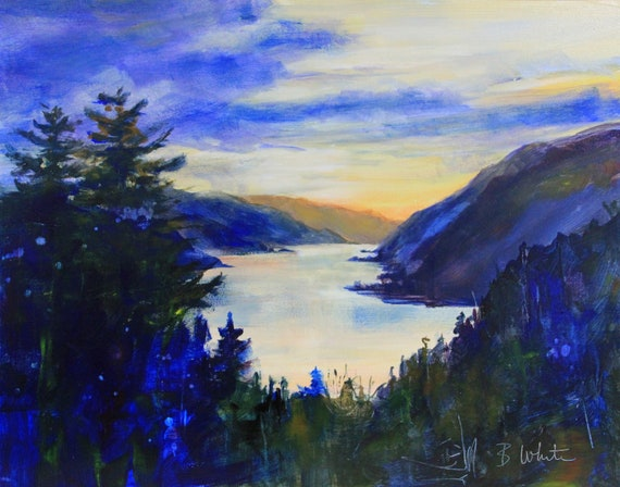 Columbia Gorge from White Salmon original acrylic painting on Ampersand Gessobord #201212