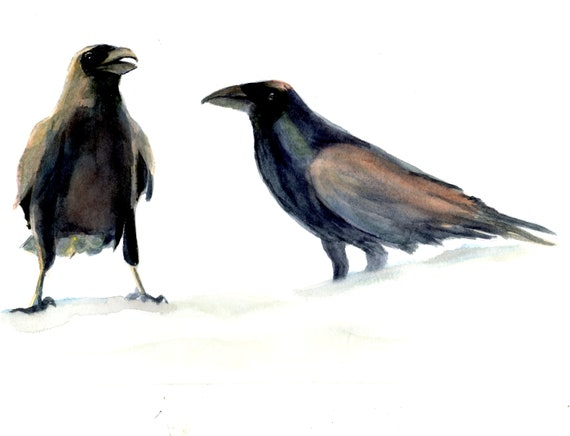 Ravens in Snow 1 print of Bonnie White watercolor