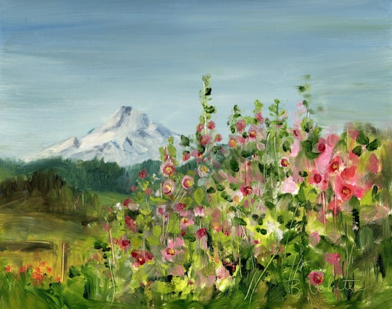 Mt. Hood original oil painting by Bonnie White 8x10 inches - painting only