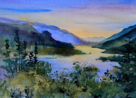 Original watercolor Columbia Gorge 411 by Bonnie White 10x14 without mat