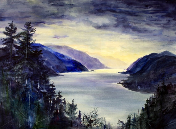 Columbia Gorge 409 and signed print of the Columbia Gorge from a watercolor by Bonnie White