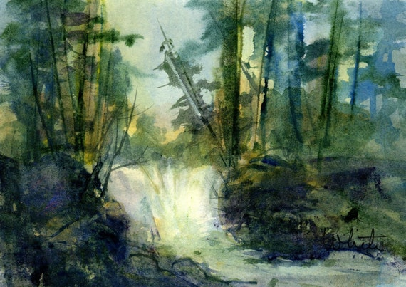 White Salmon original watercolor painting by Bonnie White looking across the river from the banks of Washington matted to 8x10