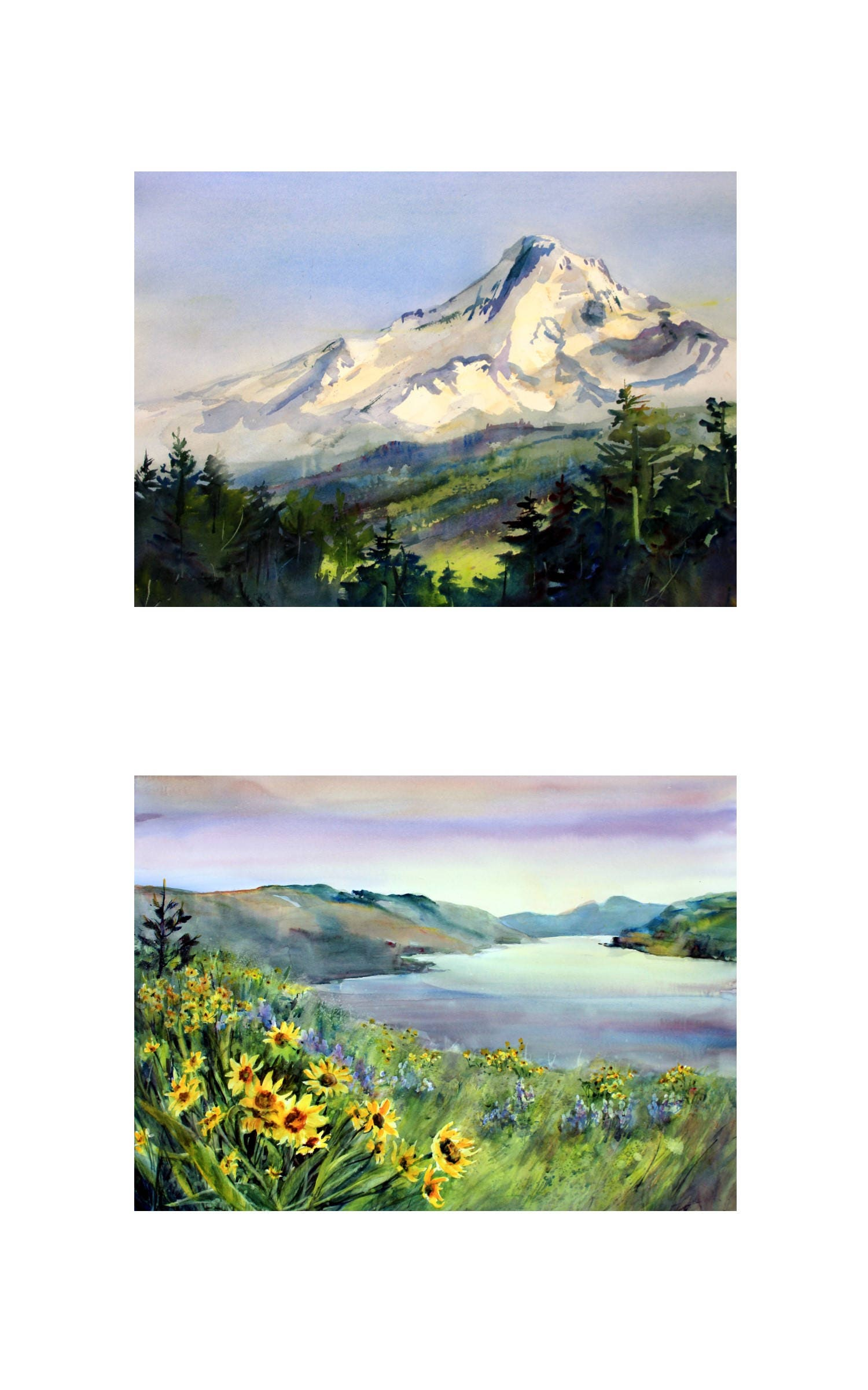 10x16 - 2 matted and or framed watercolor prints of Mt. Hood and the ...