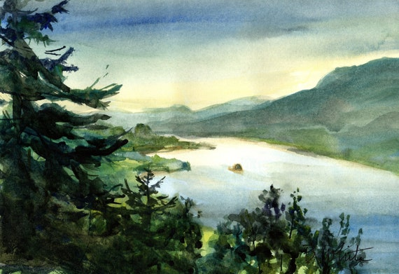 Columbia Gorge looking east from Cape Horn original painting - 7 x 10 inches - if matted, should frame to 11x14 or larger
