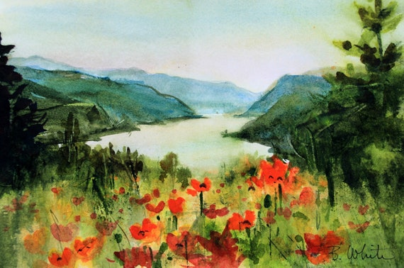 Columbia Gorge original painting with poppies 6.75 x 10, without mat or frame