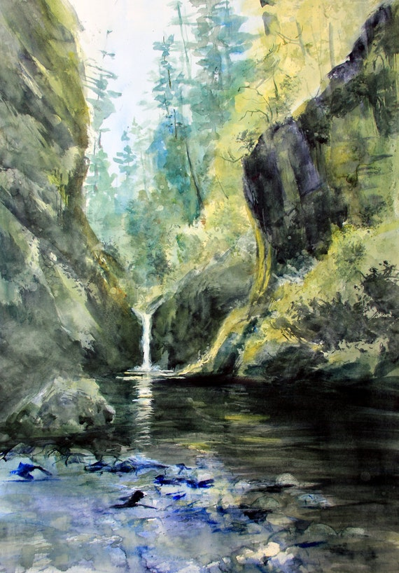 Punch Bowl Falls, Oregon, part of the Columbia River Gorge and Mt. Hood Forest a print of a watercolor painting by Bonnie White