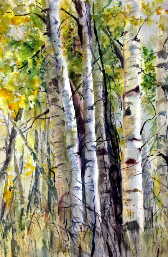 Aspen Grove 9 -- signed aspen print of a watercolor painting done by Columbia Gorge artist Bonnie White
