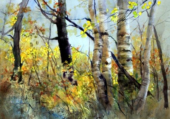 Aspen Grove 10 -- signed print - Bonnie White - watercolor print - trees - aspen grove - Glenwood aspens