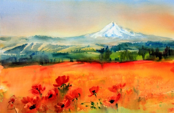 Mt. Hood from Goldendale - a signed Mt. Hood print of a watercolor painting done by Columbia Gorge artist Bonnie White